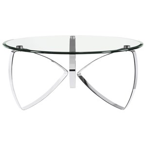 Contemporary Round Cocktail Table with Glass Top