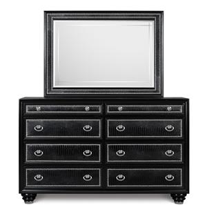 Magnussen Home Onyx Bedroom Drawer Dresser and Landscape Mirror