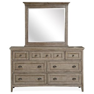 Seven Drawer Dresser and Mirror Set with Felt-Lined Top Drawers