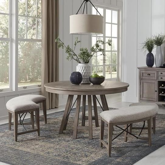 Paxton Place 3-Piece Dining Set with Benches by Magnussen Home at Stoney Creek Furniture