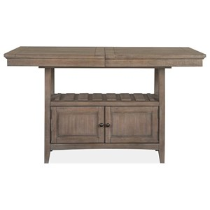 Counter Height Table with Storage and One Table Leaf