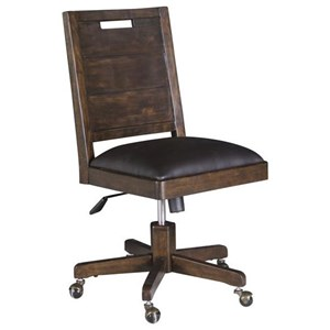 Rustic Swivel Chair with Upholstered Seat