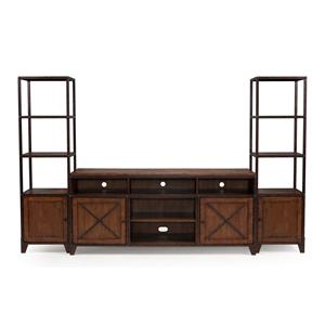 Rustic Entertainment Wall Unit with Wire Management