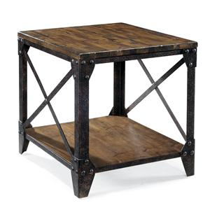 Rectangular End Table with Rustic Iron Legs