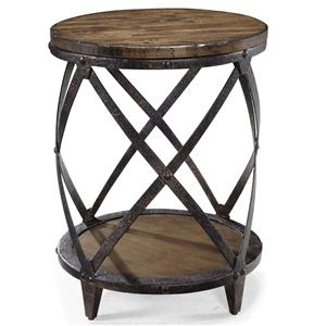 Round Accent End Table with Rustic Iron Legs