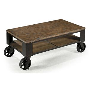 Rectangular Starter Cocktail Table with Rustic Iron Wheel Base