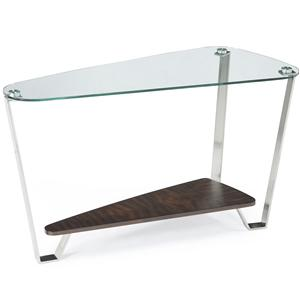 Retro Chic Shaped Sofa Table with Tempered Glass Top