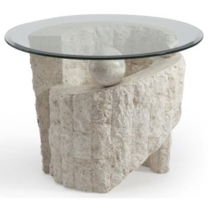 Contemporary Round Glass End Table