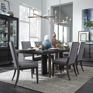 Pedestal Table and Upholstered Chair Set