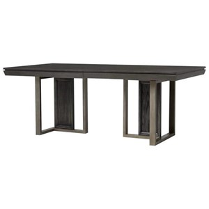 Modern Double Pedestal Table with Leaf
