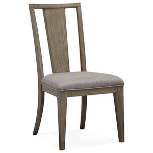 Dining Side Chair with Upholstered Seat and Slat Backrest