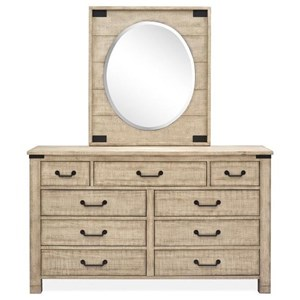 Farmhouse Dresser with Oval Portrait  Mirror