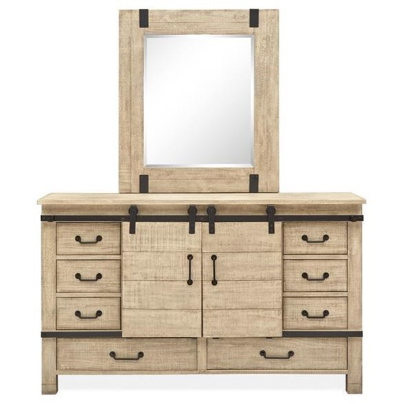 Radcliffe - B5005 Dresser with Rectangular Mirror  by Magnussen Home at Value City Furniture