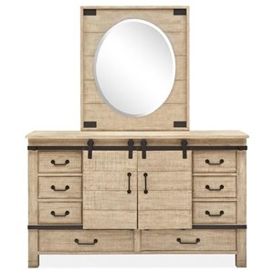 Farmhouse Barn Door Dresser with Oval Portrait Mirror
