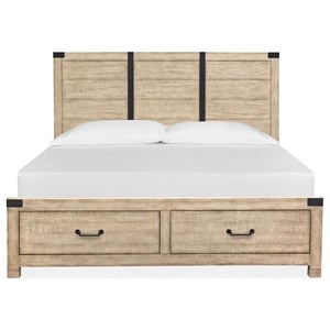 Farmhouse California King Panel Bed with Footboard Storage
