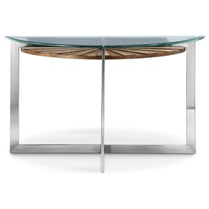 Demilune Sofa Table with Glass Top