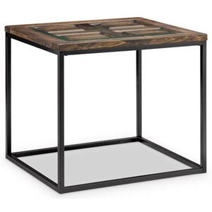 Rectangular End Table with Glass Insert Top