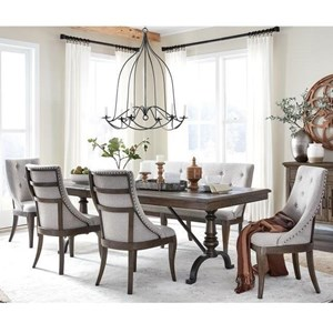 "Traditional 6-Piece Dining Table and Chair Set with 20"" Removable Leaf and Upholstered Seating"