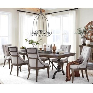 "Traditional 7-Piece Dining Table and Chair Set with 20"" Removable Leaf and Upholstered Seating"