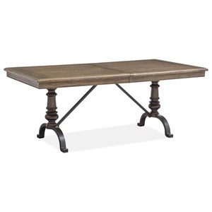 "Traditional Dining Table with 20"" Removable Leaf and Metal Base"