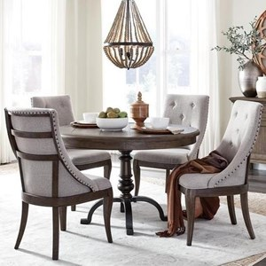 Traditional 5-Piece Dining Table and Chair Set with Metal Base and Upholstered Seating
