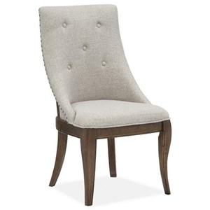 Traditional Upholstered Dining Arm Chair with Button Tufting and Nailhead Trim