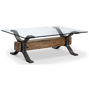 Industrial Cocktail Table with Reclaimed Wood Stretcher
