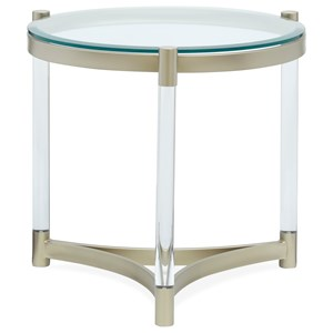 Round Glass End Table with Clear Acrylic Legs