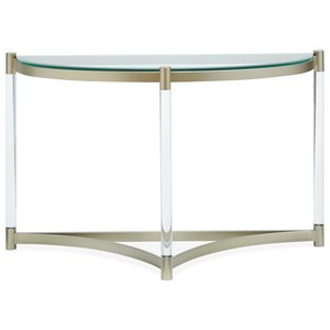 Glass Demilune Sofa Table with Clear Acrylic Legs