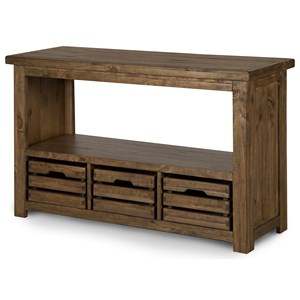 Rectangular Sofa Table with 3 Wood Storage Baskets