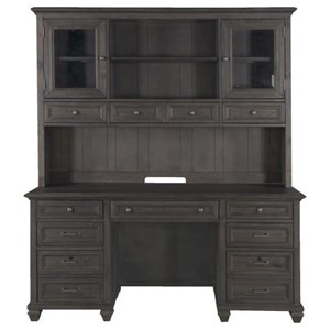 Transitional Credenza and Hutch with Glass Doors