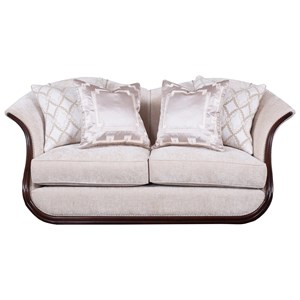 Transitional Free Floating Loveseat with Exposed Wood Frame