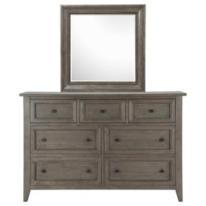 Dresser with Seven Dovetail Drawers and Mirror with Wood Frame