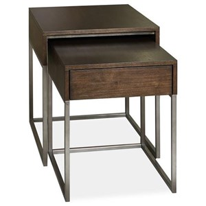 Transitional Nesting End Table Set with 1 Drawer