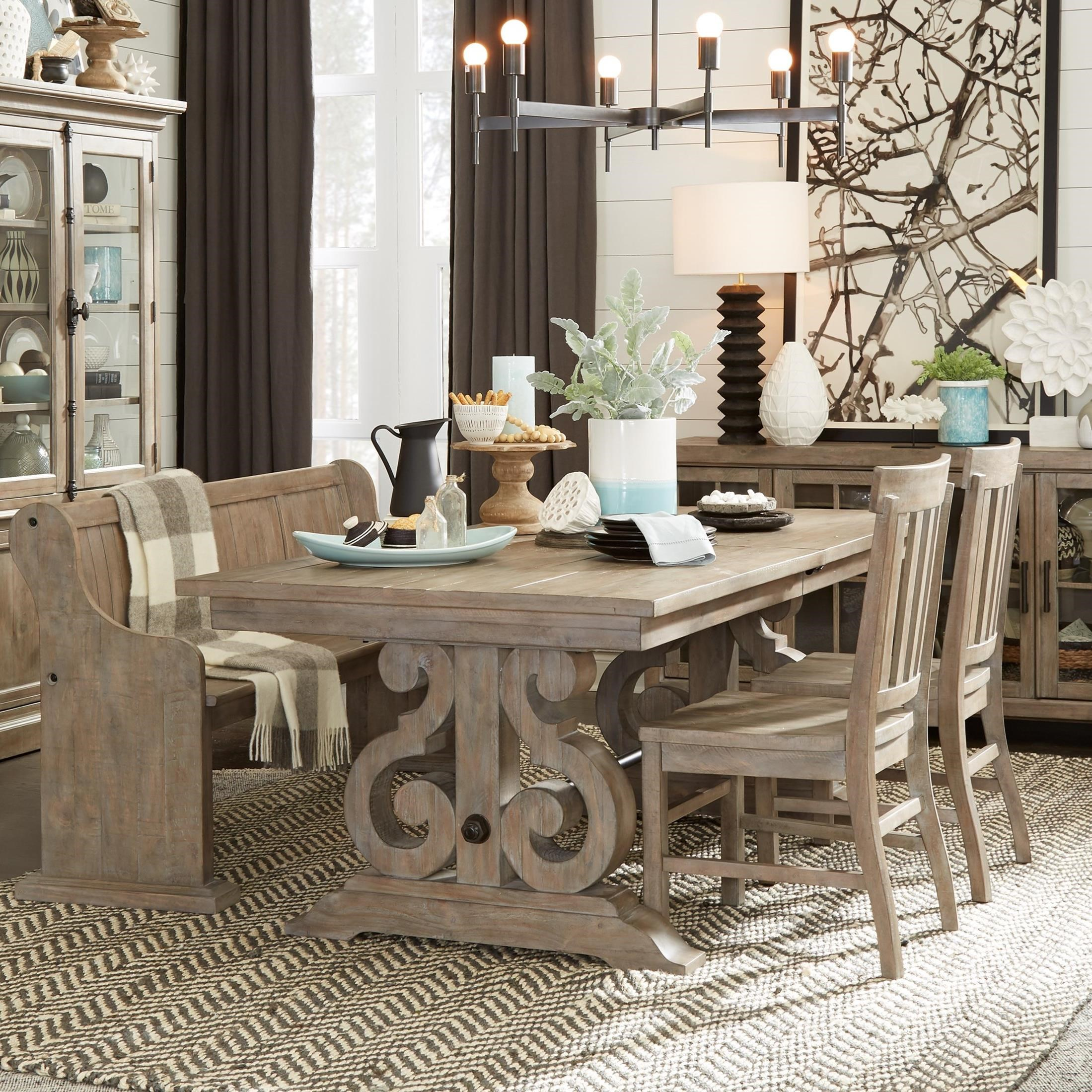 Tinley Park 6 Piece Table & Chair Set with Bench by Magnussen Home at Baer's Furniture