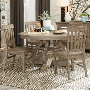 "Relaxed Vintage 5-Piece Dining Set with 60"" Round Table"