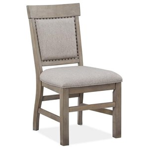 Upholstered Dining Side Chair with Decorative Carvings