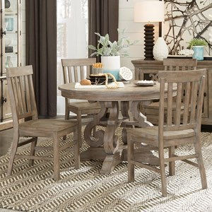 "Relaxed Vintage 5-Piece Dining Set with 48"" Round Table"