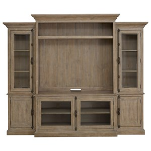 Relaxed Vintage Entertainment Wall Unit with Glass Doors and 3-Way Touch Lighting