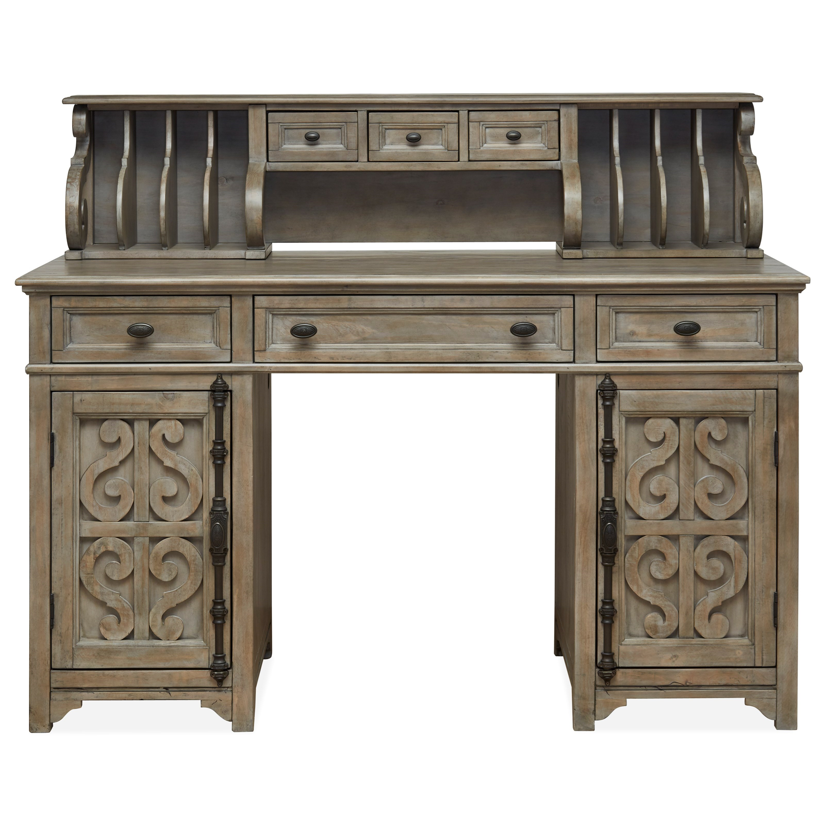 Tinley Park Counter Height Desk w/ Hutch by Magnussen Home at Baer's Furniture