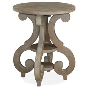 Relaxed Vintage Round Accent End Table with Two Shelves