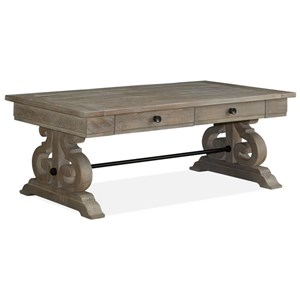 Relaxed Vintage Rectangular Cocktail Table with Two Drawers
