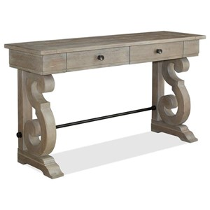 Relaxed Vintage Rectangular Sofa Table with Two Storage Drawers