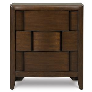3-Drawer Nightstand with Layered Panels & Chestnut Finish