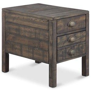 2 Drawer Rectangular End Table in Weathered Bourbon