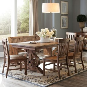 Solid Pine 6-Piece Table Set with Bench