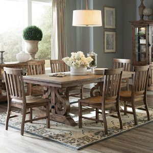 Solid Pine 7-Piece Rectangular Dining Table Set