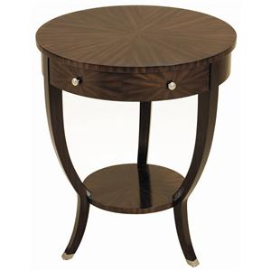 Ebony Finished Zebrano Veneer Round Occasional Table with Brushed Satina Brass Accents