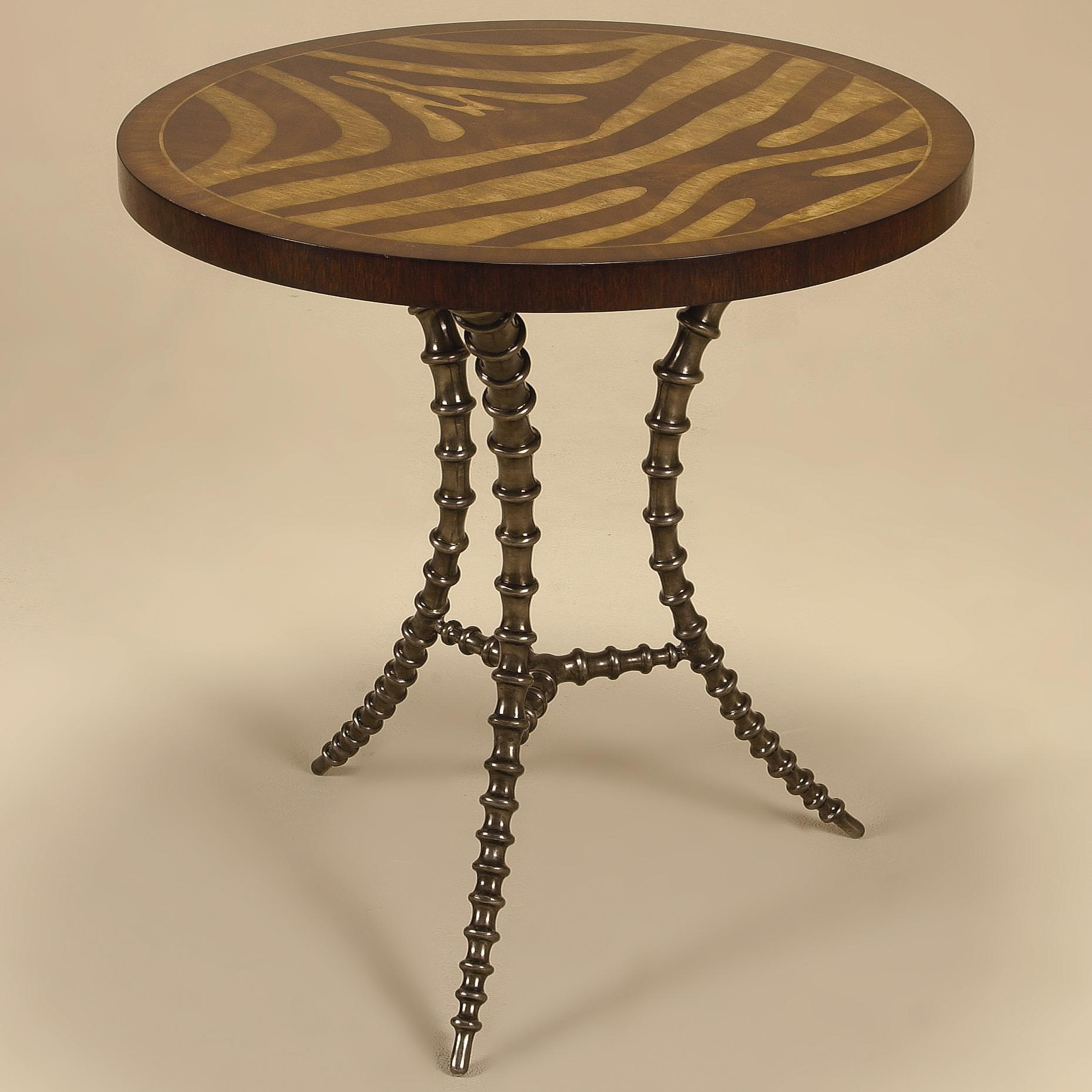 End Tables Light Tone Zebra Marquetry Motif Side Table by Maitland-Smith at Alison Craig Home Furnishings