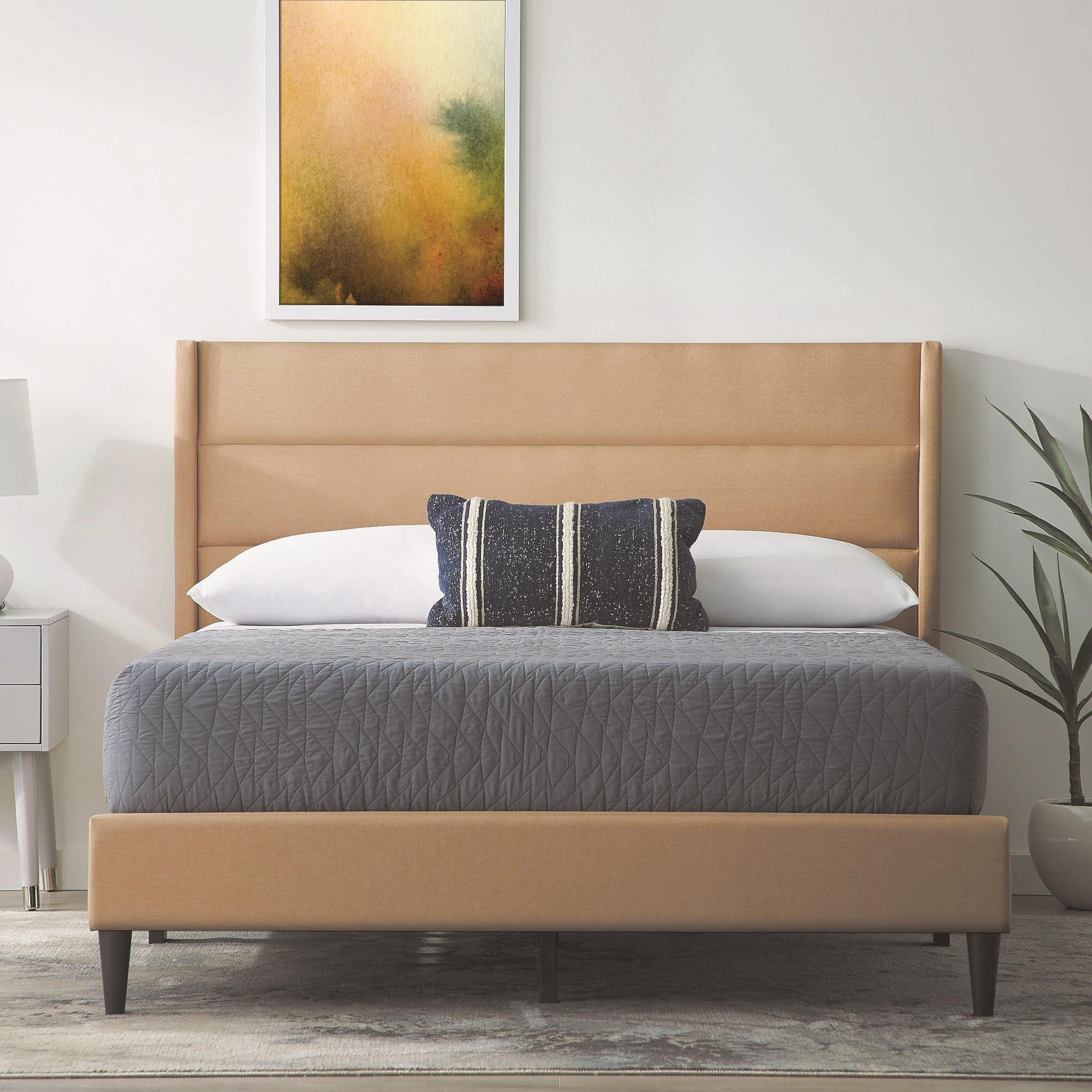 Beck Tan 3pc Queen Platform Bed by Malouf at Sam Levitz Furniture